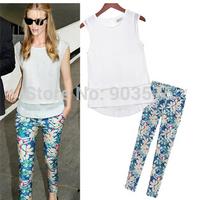 2Pcs Europe station thin cotton double layer chiffon shirt + super beautiful print long pants S-XL