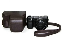 Protective Camera Case with Shoulder Strap for Sony NEX-6 NEX6 A6000 16-50mm Electric Motors Lens (coffee)