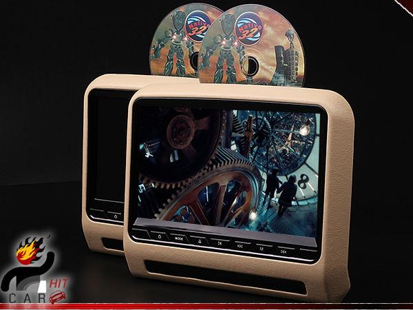 9 Inch Pair Car Headrest DVD Player Multimedia - SD USB Games FM IR HDMI Beige(China (Mainland))