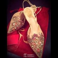 Pointed Toe Rhinestone Bridal Shoes,Women Lace Wedding Shoes,Graceful Amazing Wedding Pumps