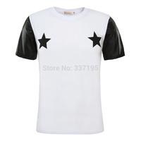 New 2014 men shirt brand exo PU sleeve t-shirt women two star casual men hip-hop punk west co ast  t-shirt pyrex skateboard top