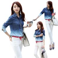 2014 Spring Summer  Female Long Sleeve Cotton Women  Jeans Blouse Loose Tops Woman Blouse Women's Gradient Shirt E3059-P20#M1