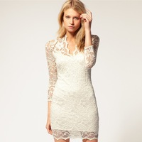 European and American women's large size V-neck lace sexy Slim package hip Sleeve Lace Dress Free Ship Women Clothing
