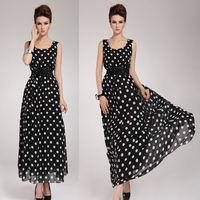 Women's Clothing Sexy Long  Maxi Chiffon Polka Dot cocktail Party Dress