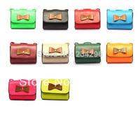 New 2014 Women PU Handbags Women Bags Women PU Messenger Bags Bowknot Candy-colored Bags