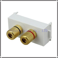 10 PCS/LOT SPEAKER CABLE BINDING POST MODULE/MODULAR WALL FACE PLATE OUTLET - CUSTOMISABLE