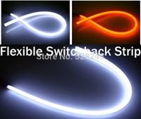 2x White Amber Flexible Tube Style Switchback Headlight Strip Angel Eye DRL Decorative Light for BMW Ford Kia Chevrolet