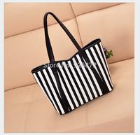 ladies 2014 new fashion han edition stripe hand bag free shipping
