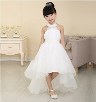 2014 High Quality Bridal Flower Girl Dress party evening Children's white long trailing dress princess6-12year-old Free shipping