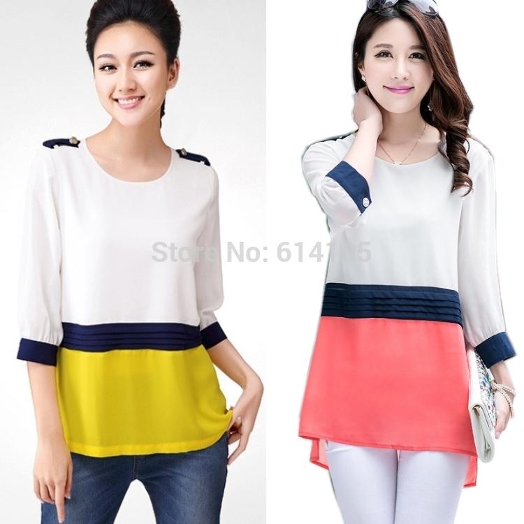 blusas de chiffon zara2014 tops moda feminina roupas de marca contas mais mulheres do tamanho blusa(China (Mainland))