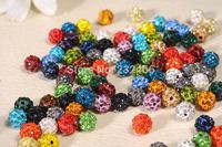 Wholesale 500pcs/lot Micro Pave Disco Ball Crystal Shamballa Beads 10mm,Mix colors,Jewerly making bead Lot Bracelet DIY jewelry