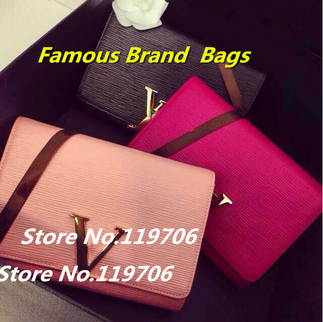 2014 Luxury Evening Clutch Women's Epi Genuine Leather Purses Famous Brand Chain Handbags High Quality Day Clutches Shoulder Bag(China (Mainland))