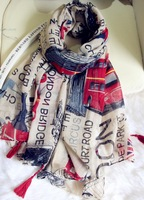 Free Shipping! 2014 New! Letters and Flag Tassels Voile Unisex Shawls Scarves,J-315