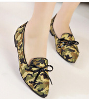 Free shipping Europe and United States ladies leisure camouflage splicing flat Women Flats manufacturers selling women's shoes