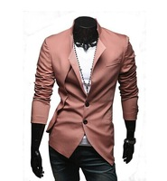 Free Real Sale Shipping 2014 New Korean Version Of The Trend Of Asymmetrical Design Personalized Fashion Trends Men Suit Jacket
