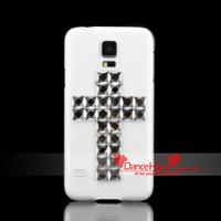 Free Shipping Items Bling Fashion Rhinestone Cross Transparent Crystal Case For Samsung Galaxy S5 I9600