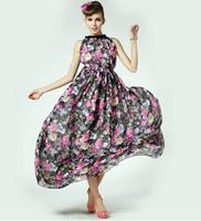 2014 New Fashion Summer Expansion Bottom Sleeveless Elegant Flower Laciness One-piece Long Dress