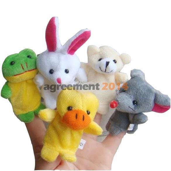 10x Cartoon Biological Animal Finger Puppet Plush Toys Child Baby Favor Dolls AR(China (Mainland))
