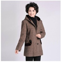 Middle-aged women's woolen winter coat big yards thick hooded Mothers Clothing Female Hoodies Windbreaker XL-5XL