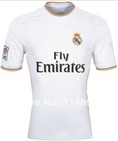 A+++ Top Thailand Quality 2014 Spain Real Madrid Soccer Jerseys football Shirts Uniform Home White Free Shipping