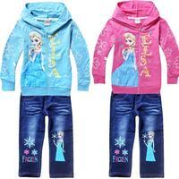 new 2014 summwe fashion cartoon Forzen children girls clothing sets,toddler baby Children Hoodies + Denim Casual Cotton Suit