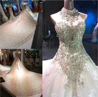 free shipping  2014  train luxury crystal racerback halter-neck deep V-neck bride big train gown formal simple wedding dress