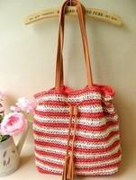 The new Korean version of the bohemian beach stripe Sen female line rattan bags straw bags