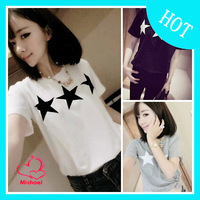 2014 summer new arrival five-pointed star top preppy style loose basic shirt honey short-sleeve T-shirt