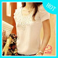 T-shirt female summer short-sleeve 2014 white top short-sleeve shirt slim lace T-shirt plus size clothing