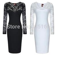 Hot&sexy party dresses With lace Long Sleeve V-neck, Fashion Slim formal Carpet dress Black/White XS--XXL Plus Size  #JM06855