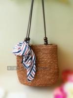 Straw bag 2014 new European style rattan shoulder bag beach