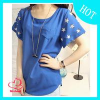 Spring and summer 2014 plus size loose women's short-sleeve chiffon basic T-shirt