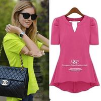 Free shipping new 2014 summer women clothing blouses fashion blusas femininas loose puff sleeve chiffon blouse