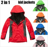 2014 children's winter brand 2in1 suit snowboard Windproof Sportwear Outerwear Coats kid's Skiing clothes Jackets for boys girls