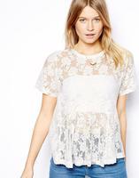 2014 women t-shirt Solid round neck short sleeve lace hem loose female models Peplum TOP-sleeved T-Shirt