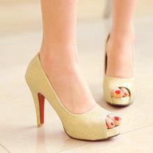11 CM factory new arrived sexy high heels peep toe gold women wedding pumps thin heels fashion ladies silver pumps W1XS-X-158(China (Mainland))