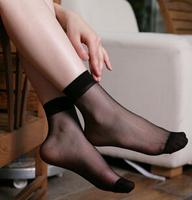 20pieces/10pairs/lot Lady's girl's Transparent Thin Crystal Socks/women socks 12 basic colors nude coffee grey black socks