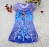 Hot 5pcs/lot Frozen Elsa Princess Girl Dress New 2014 Girl Clothing Girl Party Dress 4-10 Years Kids Clothing Casual Dress Brand