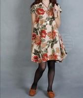 2014 new summer Korean style women dress plus size loose original print dress women free shipping n372