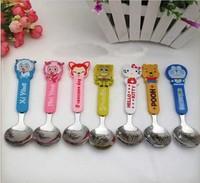 2014 promotion real bakeware children's cartoon spoon stainless steel tableware tea spoons mini teaspoon cooking tools 2pcs/lot