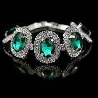 Transparent 2014 new crystal braceletn fashion silver plated rhinestone bijoux women bracelet, blue crystal bracelet for women