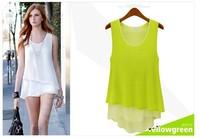 Fashion elegant ladies temperament chiffon shirt Slim candy-colored chiffon camisole bottoming shirt - three color options