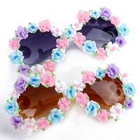 Women Girl Handmade Full Frame Flowers Beach UV Round Sunglasses Summer Free shipping & Drop shipping