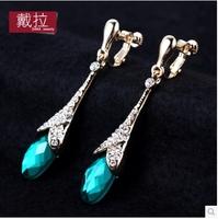 earrings women ear cuff crystal luxury ear clip long type clip earring