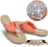 2014 Spring Summer women's Fashion Slip Shoes Chiffon Rhinestone causal beach Sandals flip-flops females slippers wholesales