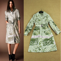 2014 new autumn fashion runway geometry print Long sleeve thin coats women's noble trench with belt free shipping