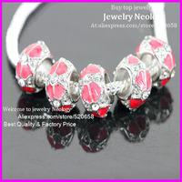 Free Ship! 50pcs Crystal rhinestone Rose Enamel Silver Metal alloy European Big Hole Beads For Making Charms jewelry bracelet