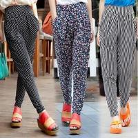 2014 spring & summer casual harem pants female Korean fashion loose ice silk thin nine length high waist pants plus size