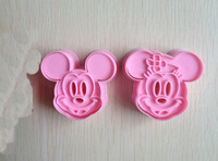 Free shipping 2PCS Mickey Mouse  shape mold sugar Arts set Fondant Cake tools/cookie cutters good