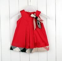 in stock 2-5yrs Baby Girls Dresses dress Fashion summer 2014 New short-sleeved Baby girls brand Plaid Dress 100% cotton